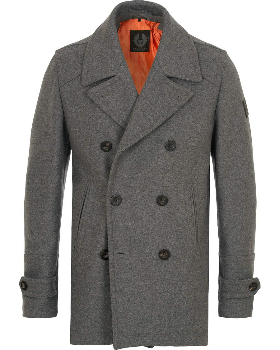 distinctive design low cost shopping Belstaff Durdan Wool Peacoat Mid Grey hos CareOfCarl.com