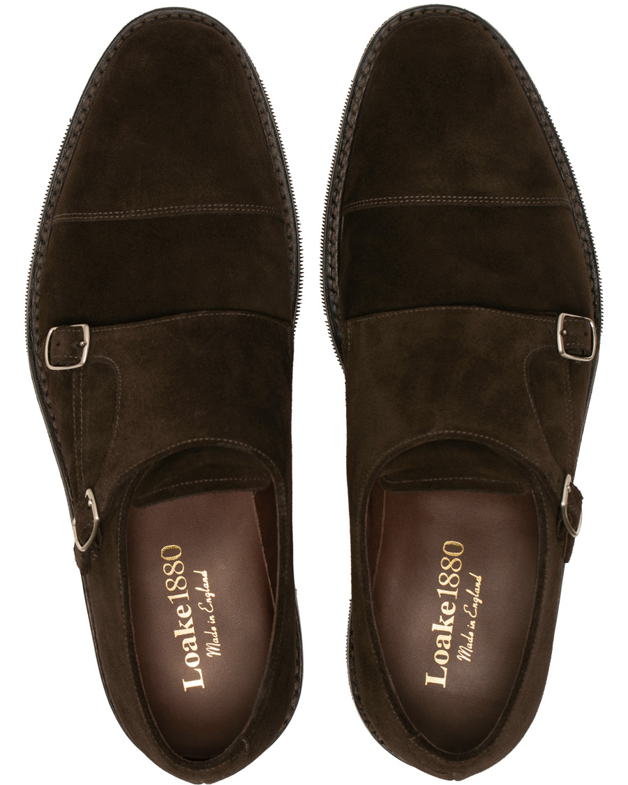 a6e0b72d Loake 1880 Benedict Shadow Sole Monkstrap Dark Brown Suede hos Ca