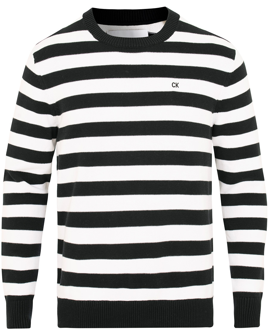 6e9ae2aeaa4 Calvin Klein Jeans Striped Crew Neck Bright White Black hos CareO