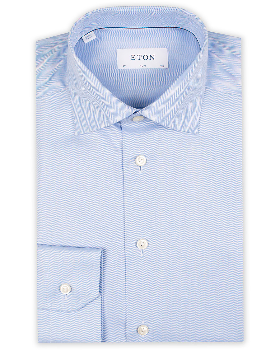 Eton Slim Fit Signature Twill Under Shirt Light Blue hos