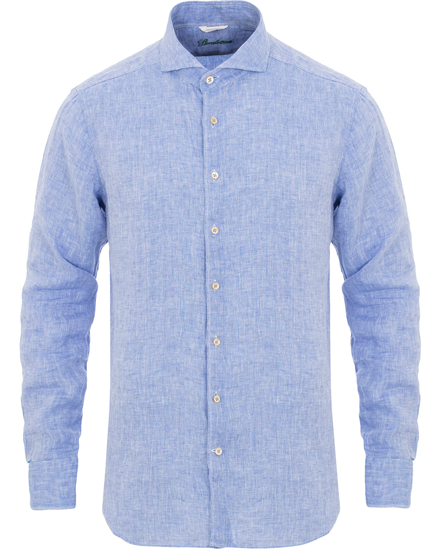 Stenströms Fitted Body Cut Away Linen Shirt Light Blue hos CareOf 86ac4d95cc820