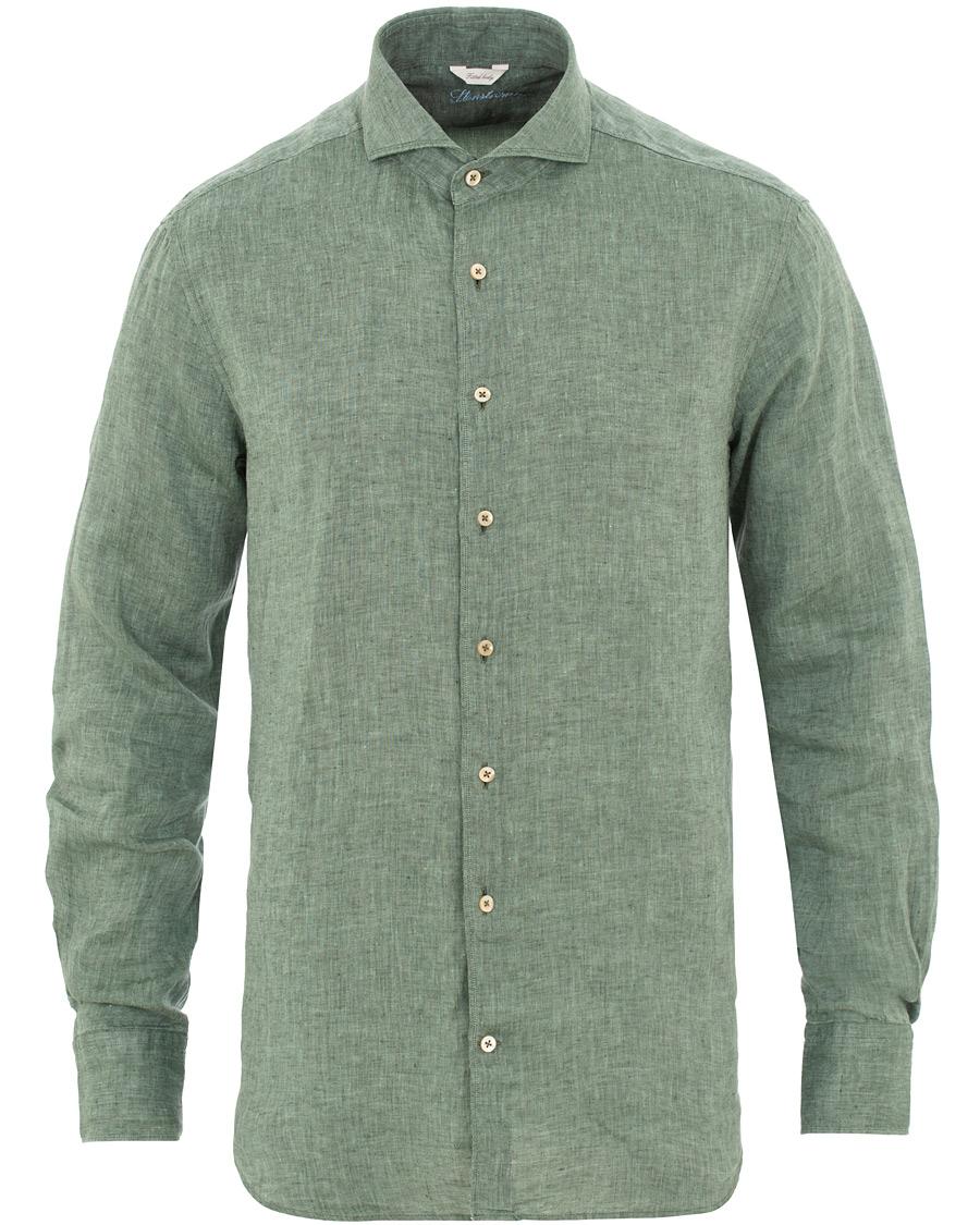 Stenströms Fitted Body Cut Away Linen Shirt Green hos CareOfCarl. 59732e92e2538