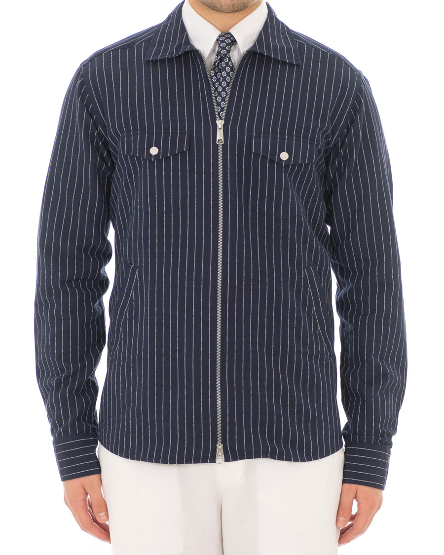a20dea640f Eton Slim Fit Twill Pinstripe Zip Over Shirt Blue hos CareOfCarl.