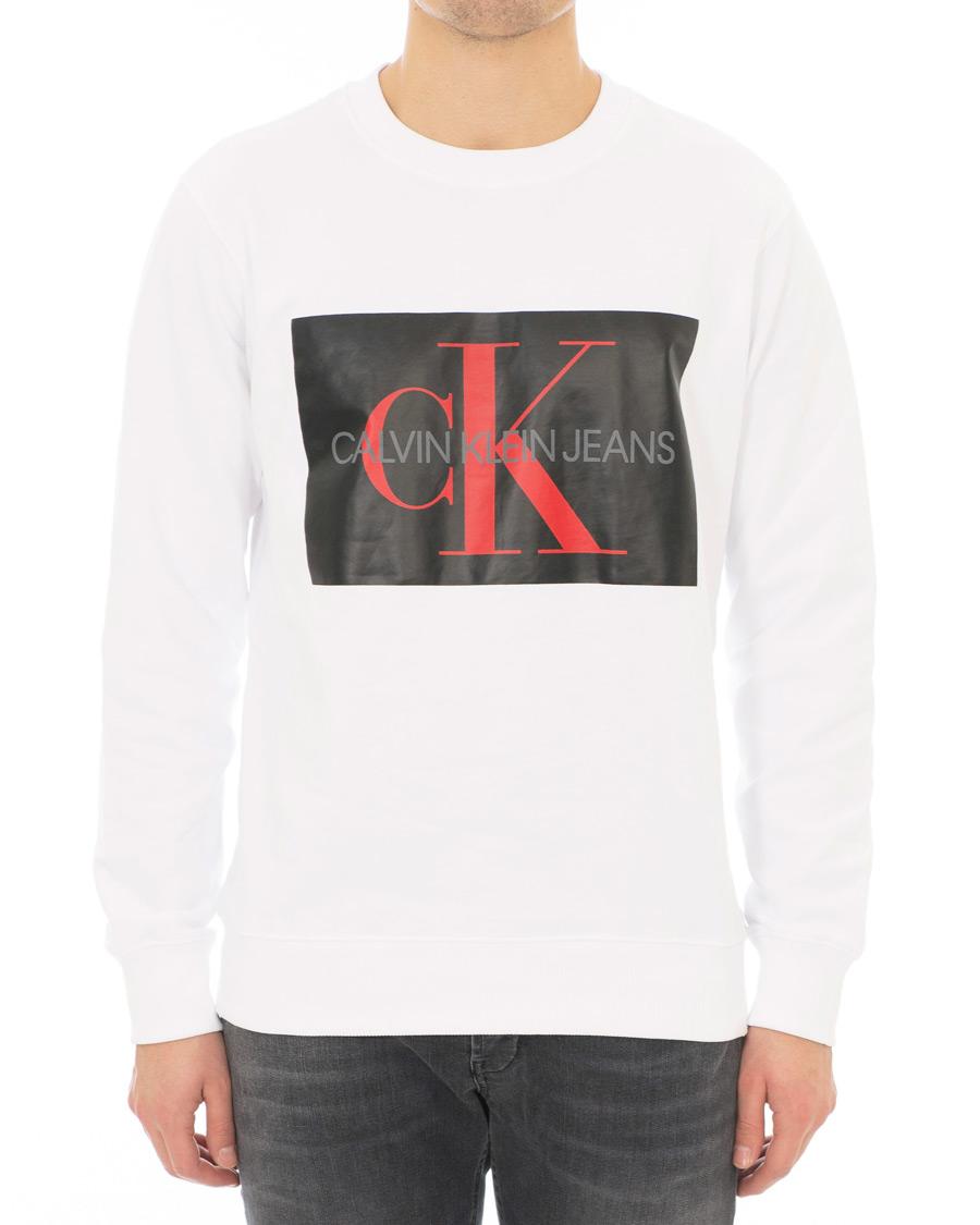 7faa7383 Calvin Klein Jeans Monogram Box Logo Sweatshirt White hos CareOfC