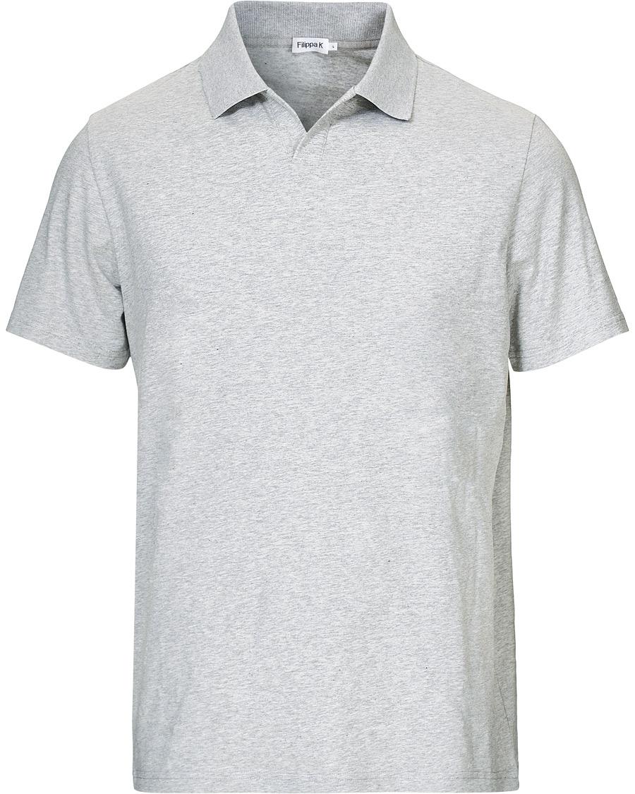 Filippa K Soft Lycra Polo T Shirt Light Grey Melange XS