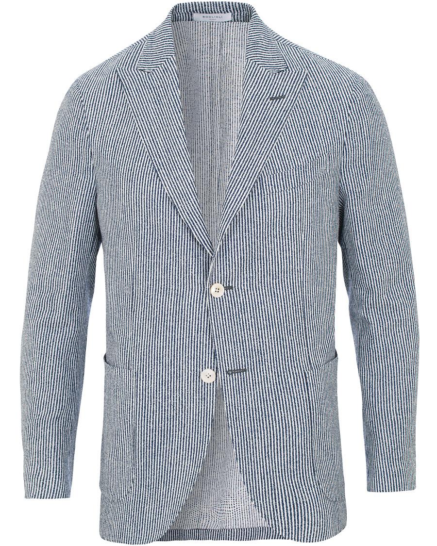 Boglioli K Jacket Wool Cotton Seersucker Blazer Blue White hos Ca bb0b0bf357fd6