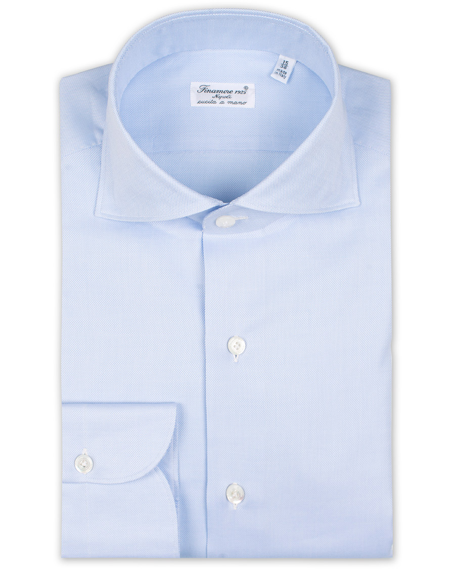 Finamore Napoli Milano Slim Fit Royal Oxford Shirt Light Blue hos db3683632da24
