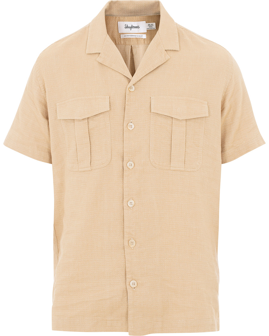 e1ff3ac1 Schnayderman's Linen Camp Collar Short Sleeve Shirt Beige hos Car