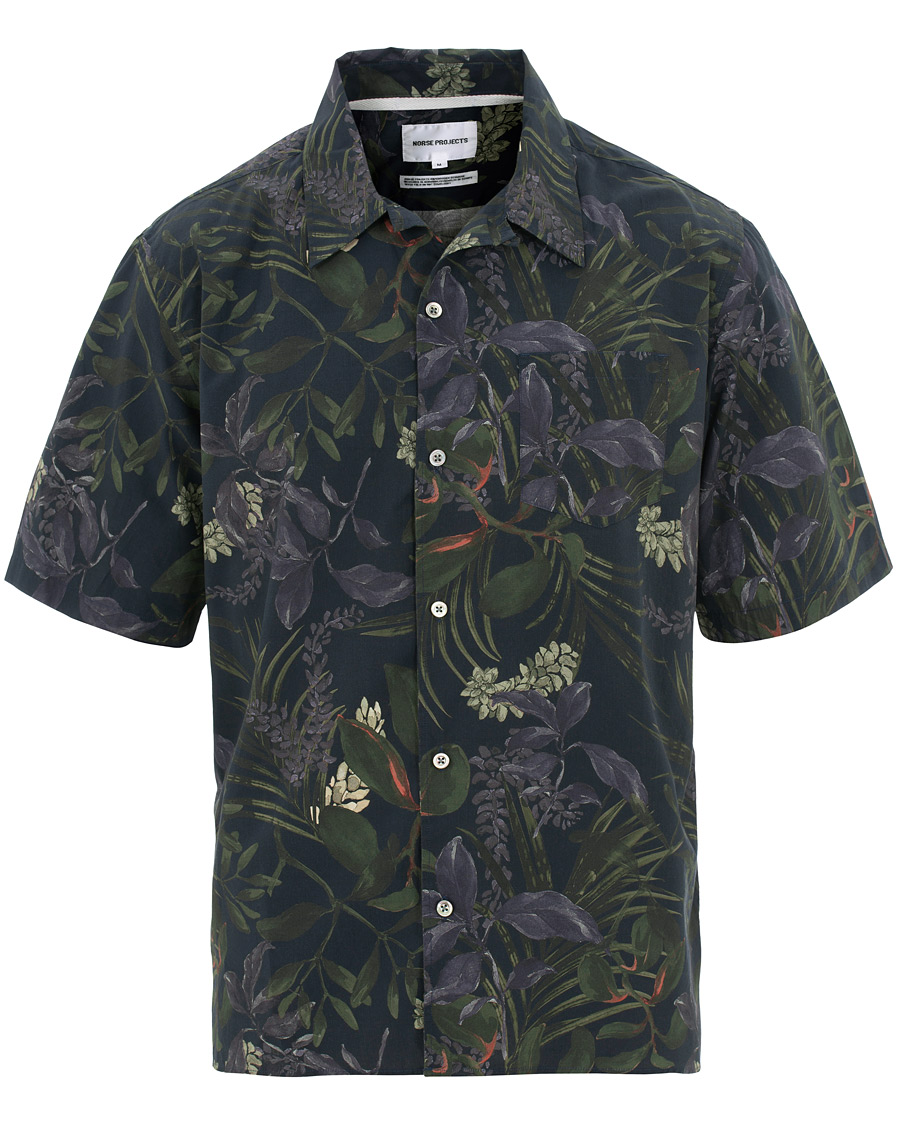 b1682853 Norse Projects Floral Printed Camp Collar Shirt Dark Navy hos Car