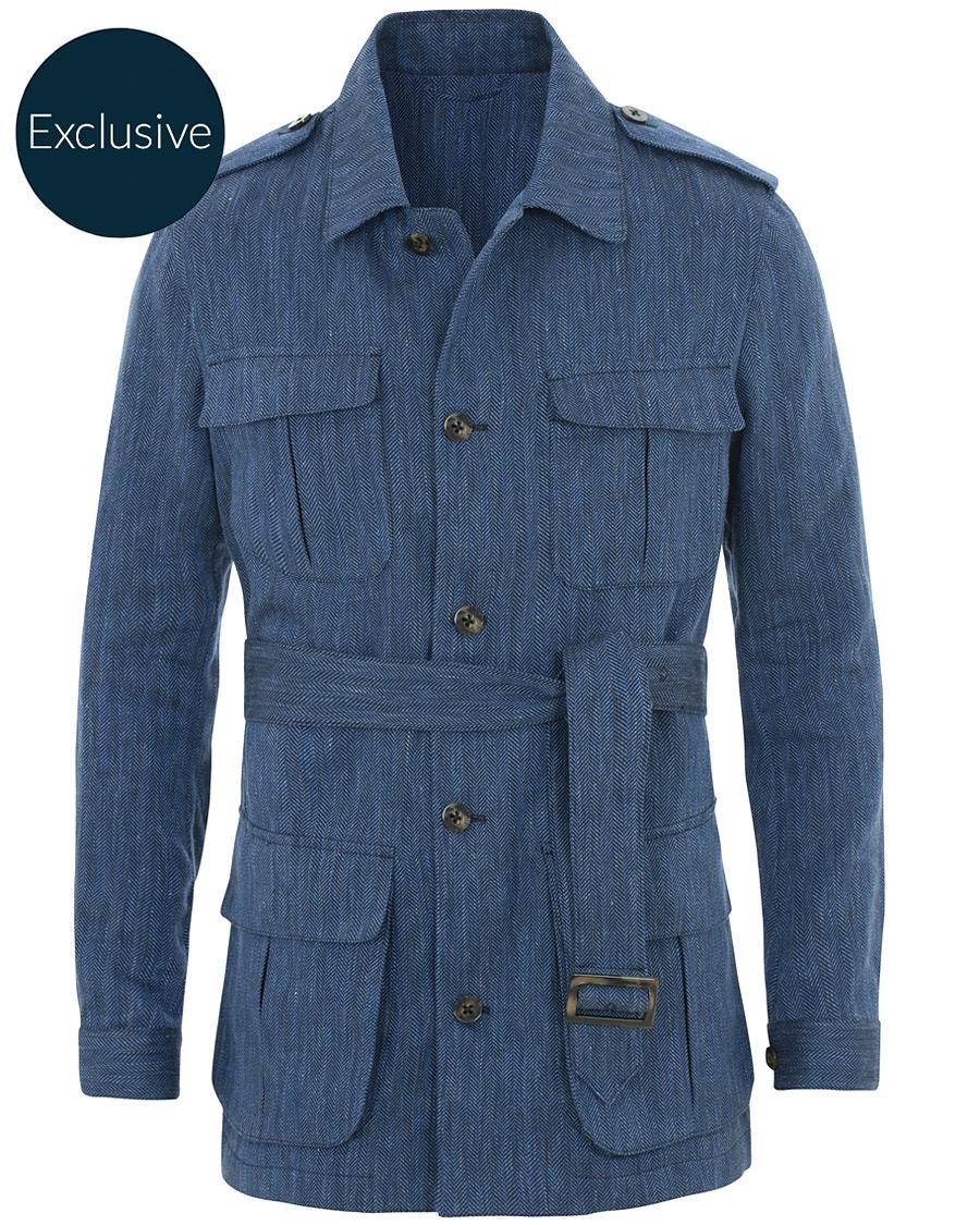Stenströms MTO Linen Cotton Herringbone Field Jacket Indigo Blue