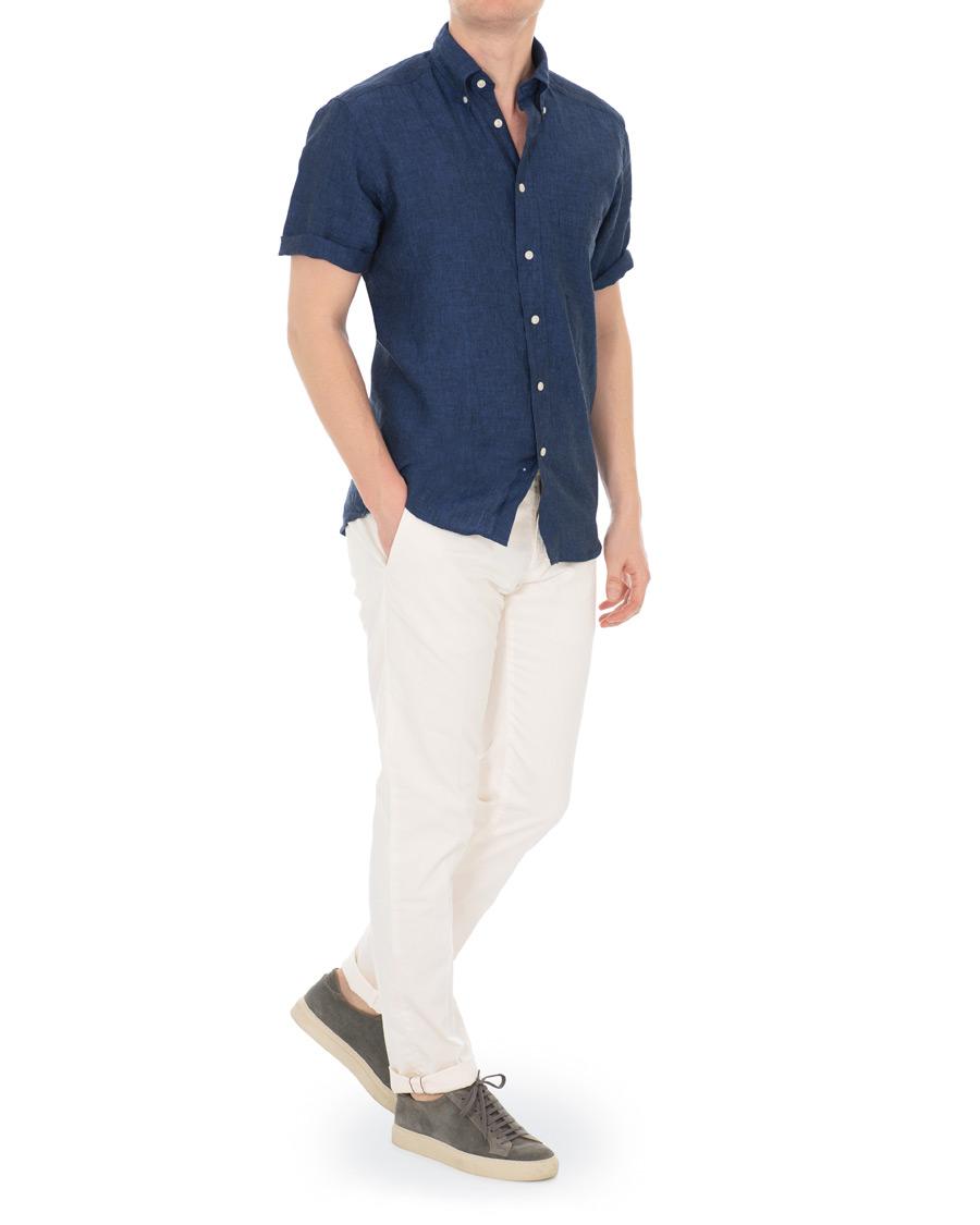 a6ad8bef Eton Slim Fit Linen Short Sleeve Shirt Dark Blue hos CareOfCarl.c