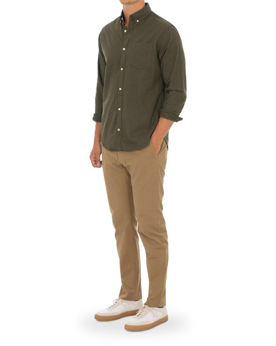 NN07 Levon Button Down Flannel Shirt Leaf Green hos