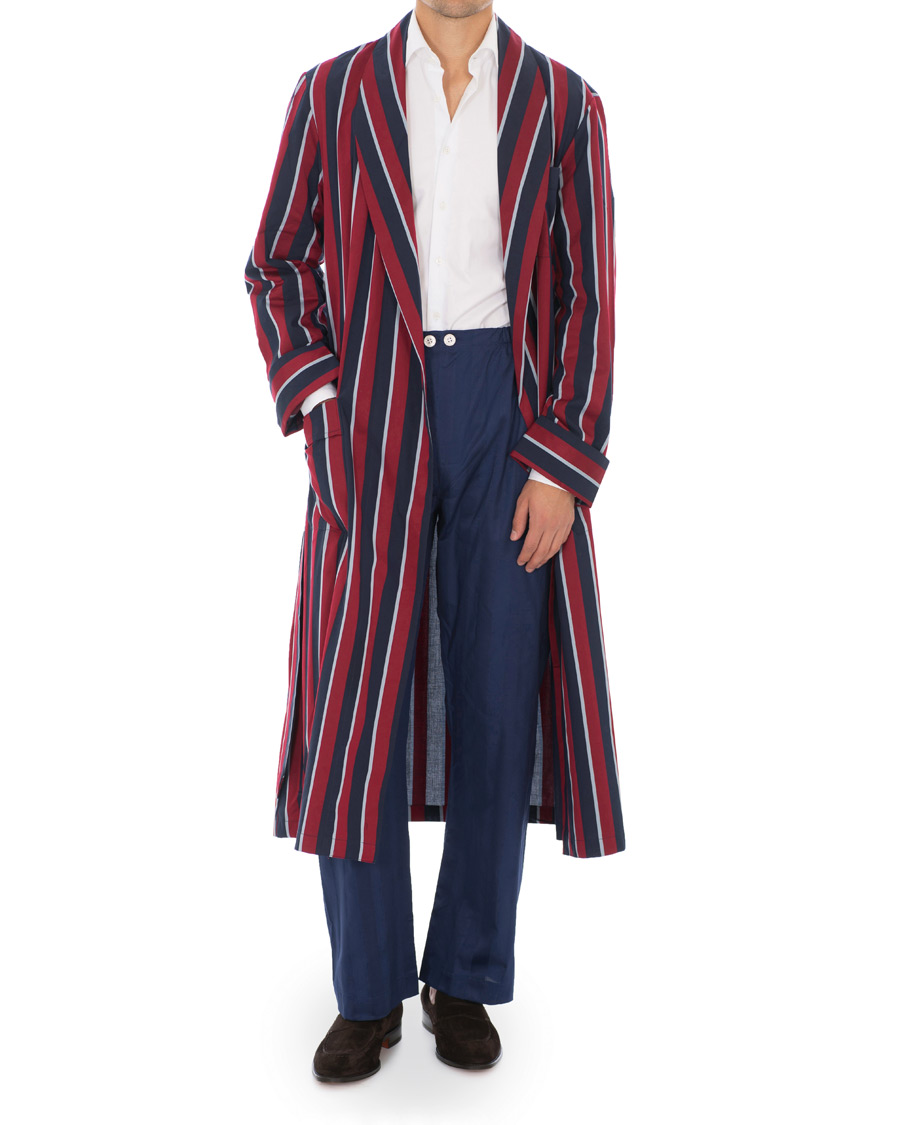 greatvarieties 2019 clearance sale release info on Derek Rose Striped Cotton Satin Dressing Gown Red/Blue/White S