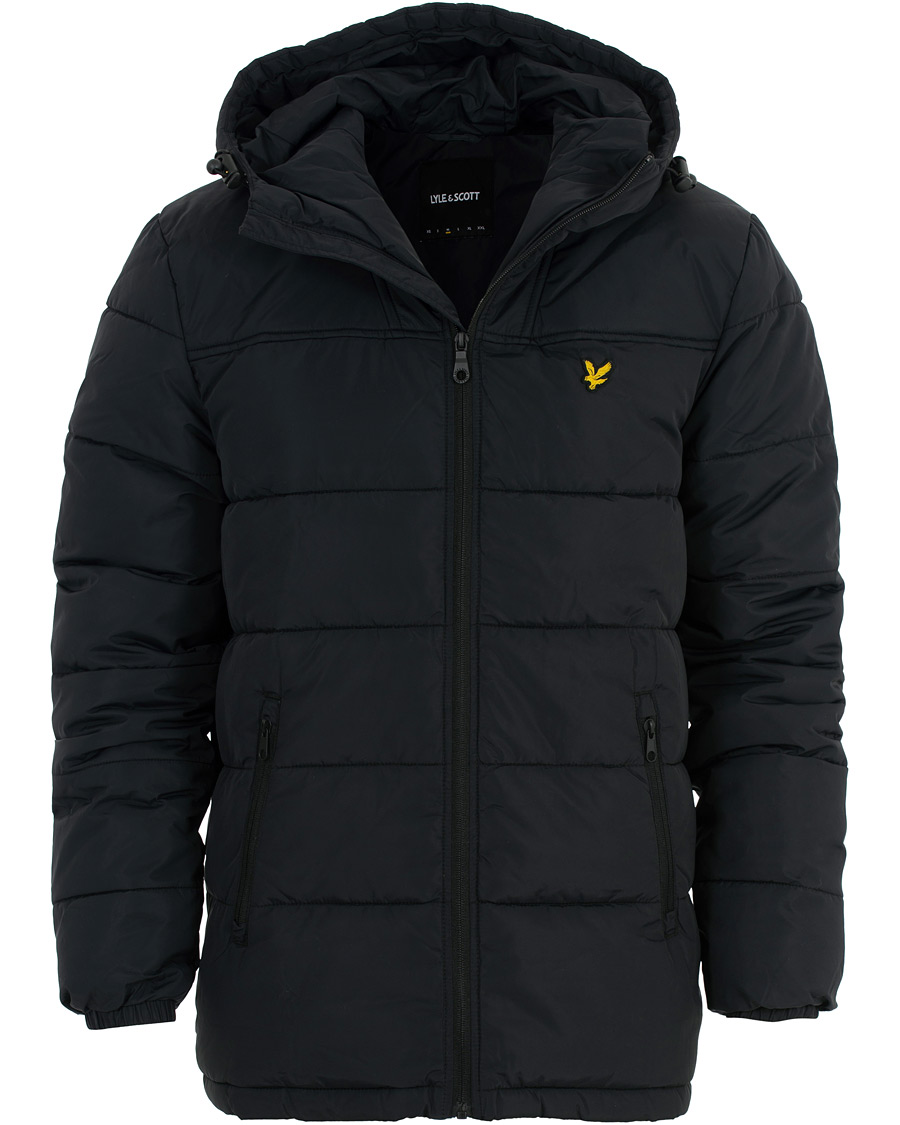 Lyle & Scott Wadded Hooded Jacket True Black