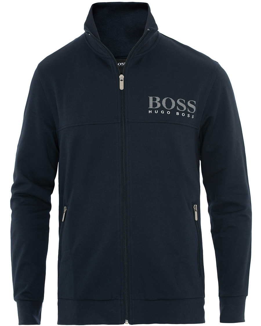 BOSS Tracksuit Jacket Zip Sweat Top in Navy