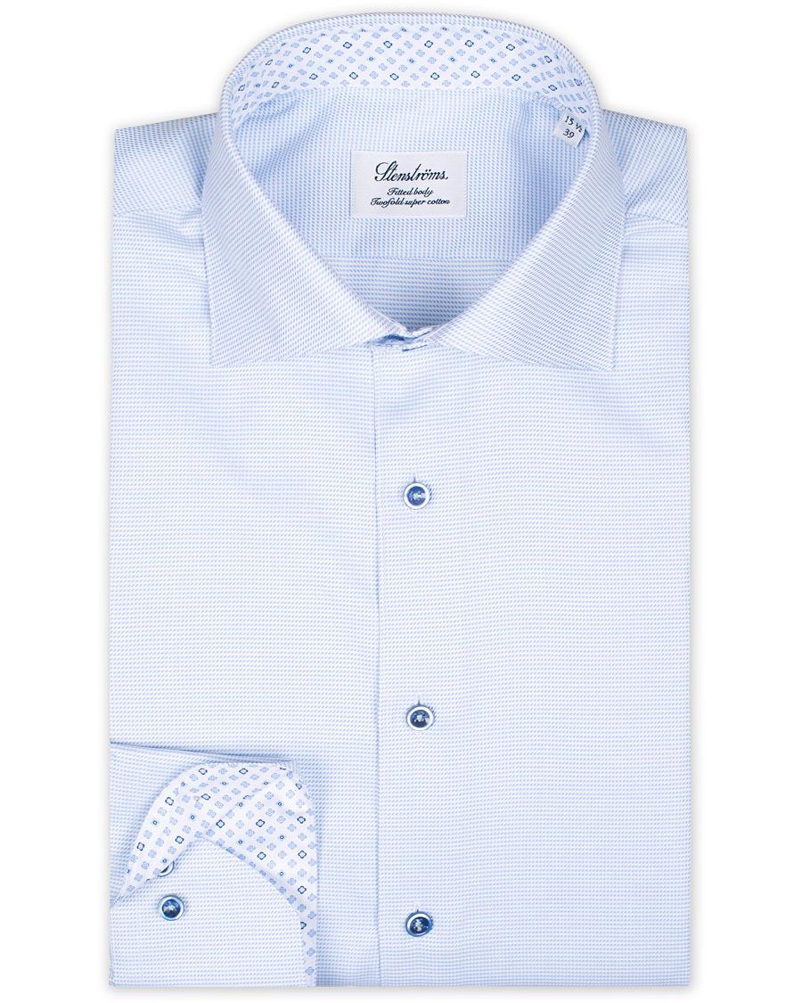 så billigt amazon köper nu Stenströms Fitted Body Micro Structure Contrast Shirt Blue hos ...