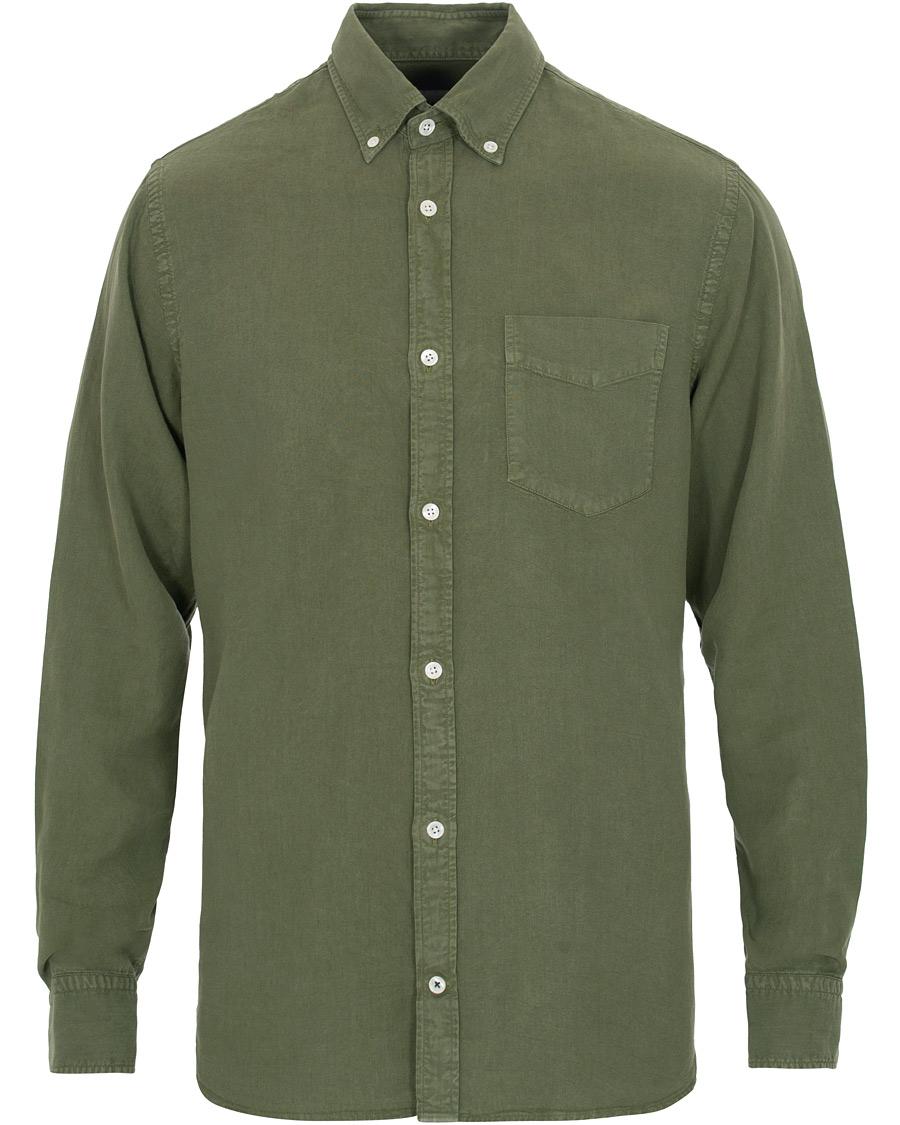 NN07 Levon LyocellLinen Button Down Shirt Green S