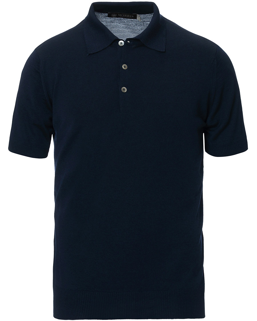 Morris Heritage Short Sleeve Knitted Polo Shirt Navy S