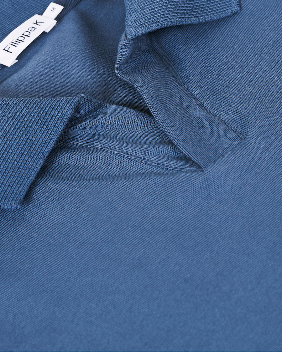 Filippa K Soft Lycra Polo T Shirt Blue Grey S