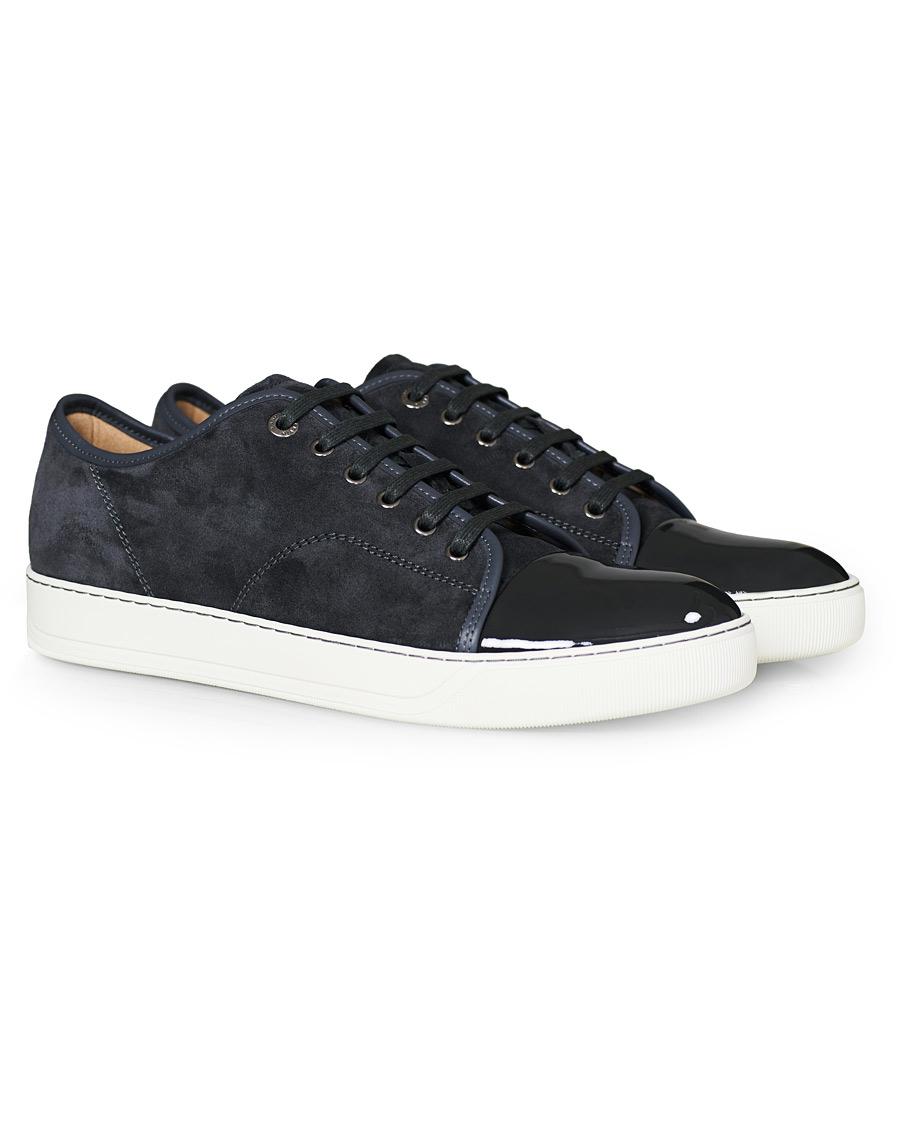 Lanvin Patent Captoe Sneaker Grey Suede UK7 EU41