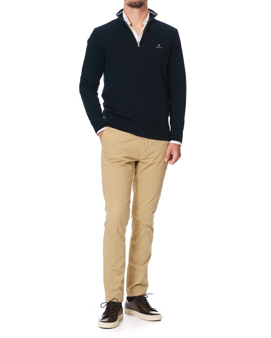 GANT Cotton Pique Half Zip Sweater Evening Blue S