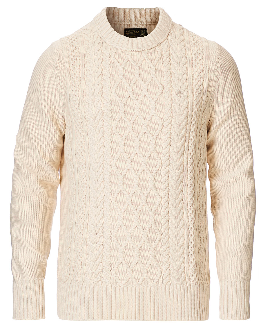 Morris Riely Cable O Neck Off White S