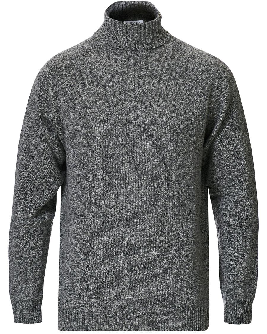 Sunspel Roll Neck Wool Sweater Mid Grey Melange hos