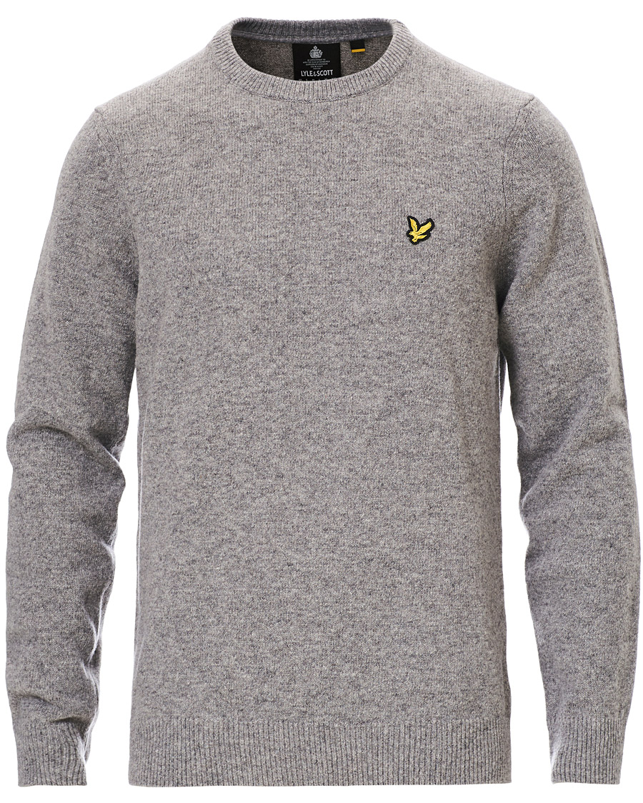 Lyle & Scott Lambswool Crew Neck Pullover Mid Grey Marl XS