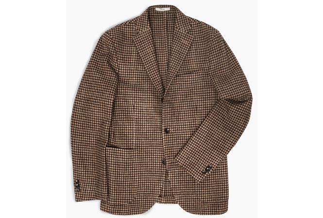 Boglioli Dover Patch Pocket Houndtooth Wool Blazer Brown