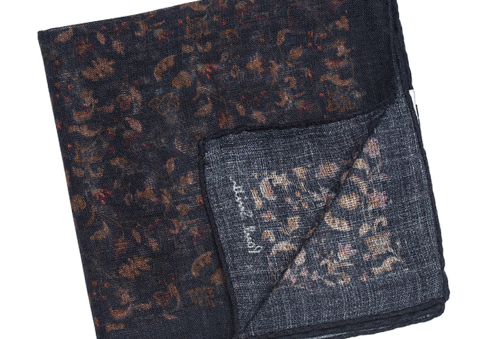 Paul Smith Accessories Climbing Flower Pocketsquare Navy