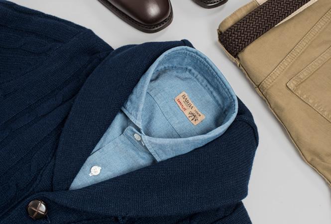 Bilde med skjorte, cardigan og chinos