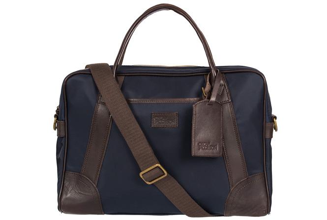 Oscar Jacobson Limonta Computer Bag Navy/Dark Brown