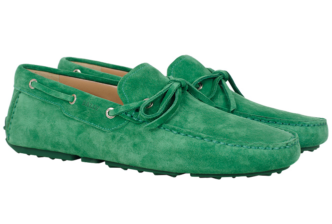 BALLY Dramer Suede Car Shoe Grass Green